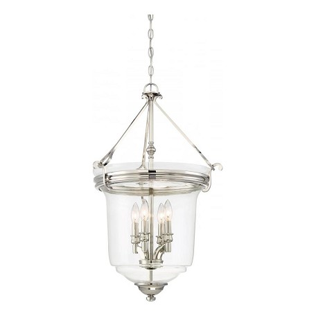 Minka-Lavery 4 Light Foyer/Semi Flush Convertible Fixture In Polished Nickel W/Clear Glass