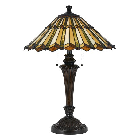 Cal Lighting Dark Bronze Tiffany 2 Light Table Lamp With
