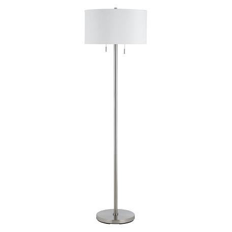 Cal Lighting Brushed Steel 60w X 2 Calais Metal Floor Lamp