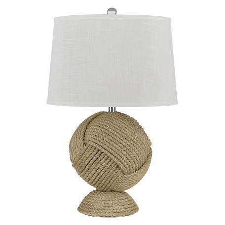 cal lighting rope reynosa 1 light pedestal base table lamp. Black Bedroom Furniture Sets. Home Design Ideas