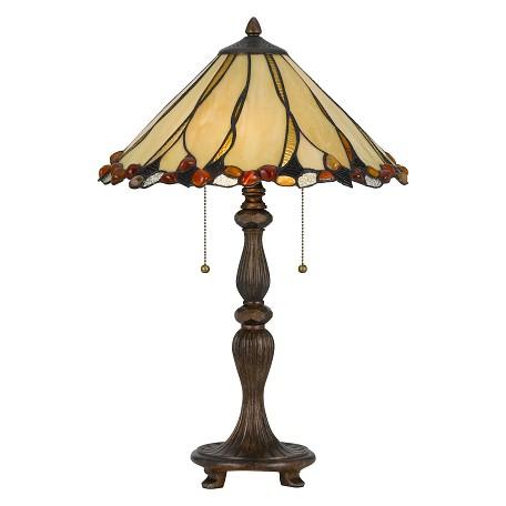 Cal Lighting Black Tiffany 2 Light 24in High Table Lamp