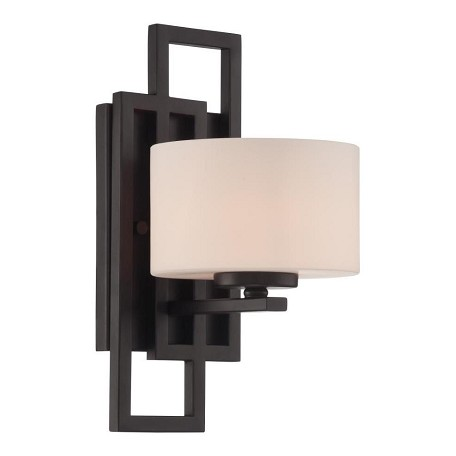 Lite Source Inc. Wall Lamp, Dark Bronze/Frost Glass Shade, Type Jcd/G9 60W