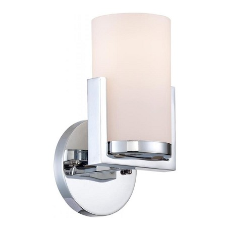 Lite Source Inc. Wall Lamp, Chrome/Frost Glass Shade, E27 Type A 60W