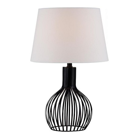 Lite Source Inc. Table Lamp, Black Metal/Off-White Fabric Shade, E27 Cfl 13W