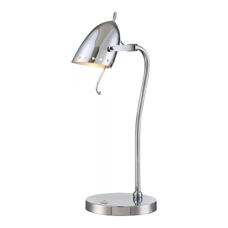 Lite Source Inc. Desk Lamp, Chrome/Metal Shade, E27 Type Cfl 13W