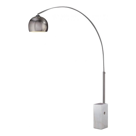 Minka George Kovacs One Light Shade  - Metal Brushed Stainless Steel With White Marble Base Floor La