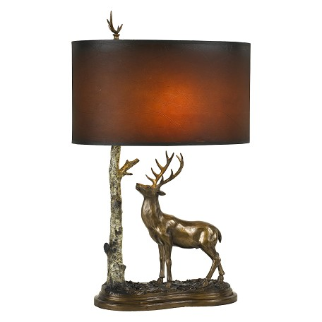 Cal Lighting 150w Deer Resin Table Lamp Cast Bronze Bo