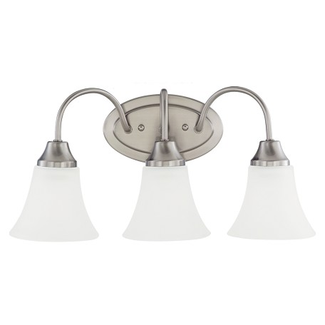 Sea Gull Holman Three Light Wall/Bath Vanity In Brushed Nickel With Satin Etched Glass