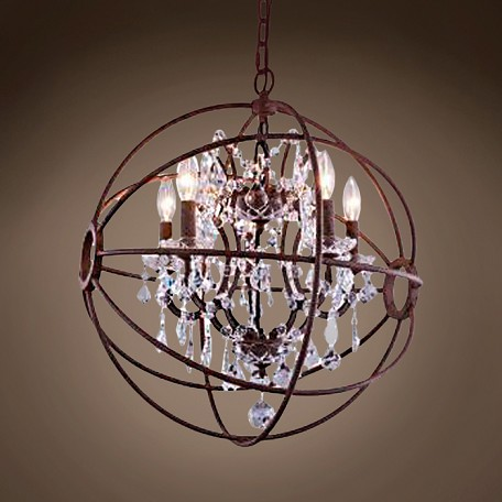 "JM Foucault'S Orb Design 4 Light 17"" Rustic Iron Pendant"
