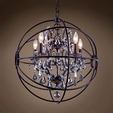 "Foucault'S Orb Design 5 Light 20"" Dark Bronze Pendant"