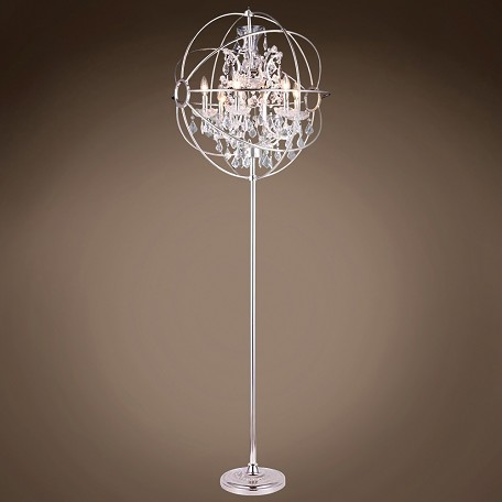 "JM Foucault'S Orb Design 6 Light 24"" Polished Nickel Floor Lamp"