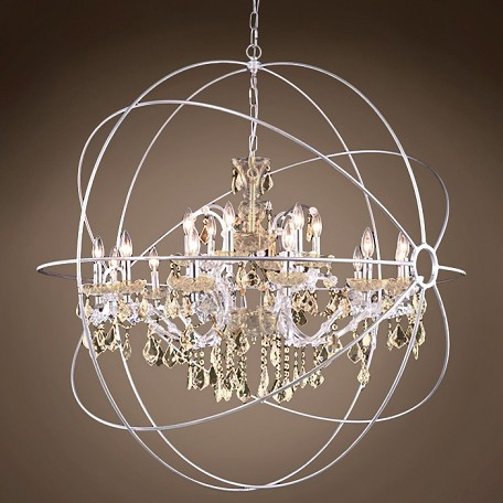 "JM Foucault'S Orb Design 18 Light 43.5"" Polished Nickel Pendant"