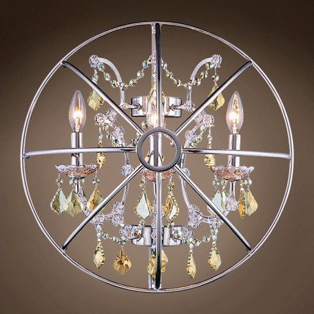 "JM Foucault'S Orb Design 3 Light 21"" Polished Nickel Wall Sconce"