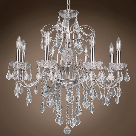 "JM Heritage  8 Light 26"" Chrome Chandelier"