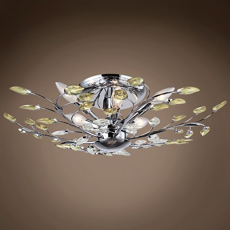 JM Branch Of Light 8 Light Chrome Semi Flush Mount With Crystals