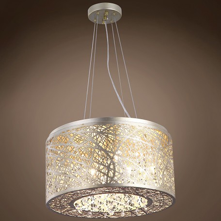 JM Lazer 7 Light Golden Silver Steel Shade Pendant