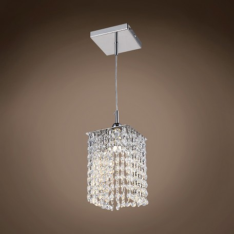 "JM Limited Edition 1 Light 5"" Crystal Square Mini Pendant Light in Chrome"