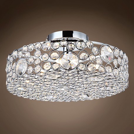 "JM Limited Edition 4 Light 13"" Round Crystal Semi Flush Mount Ceiling Light, Chrome"