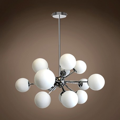 "JM Limited Edition 15 Light 35"" White Glass Globes Pendant Light, Chrome"