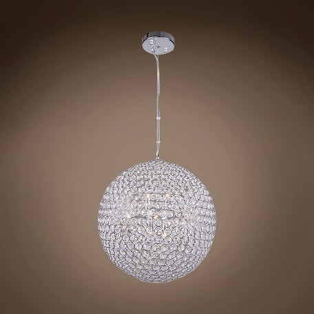 "JM Limited Edition 8 Light 14"" Crystal Globe Pendant Light in Chrome Finish"