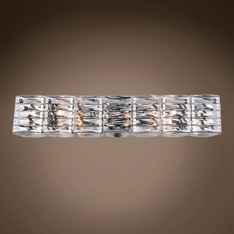 "Invisible 8 Light 33"" Chrome Crystal Wall Sconce"