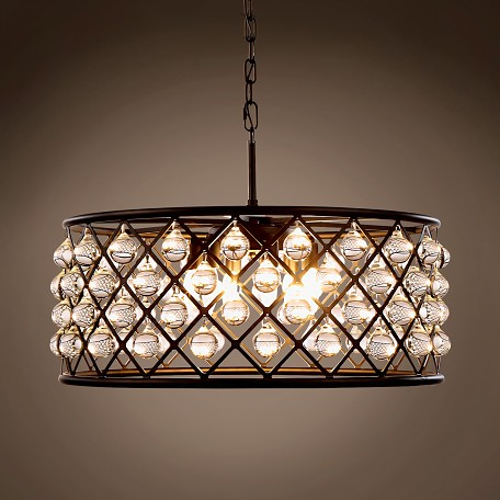 Crystal Grid Hoop 6 Light 25 Clear Gl Chandelier 12125mb Rc