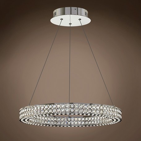 "JM Engaged 20"" One Ring LED Chrome Pendant Light with Clear Crystal Accents"