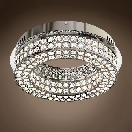 "JM Engaged 13"" One Tier LED Chrome Flush Mount with Clear Crystal Accents"
