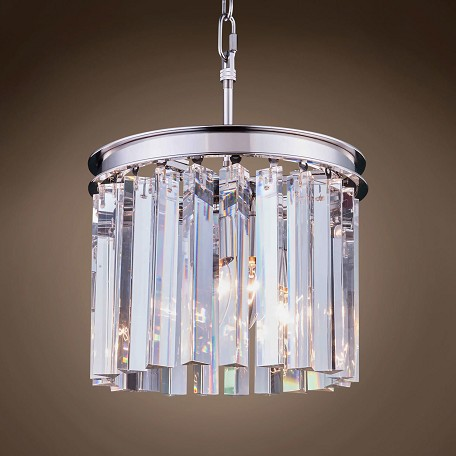"Crystal Prism 3 Light 12"" Round Chandelier"