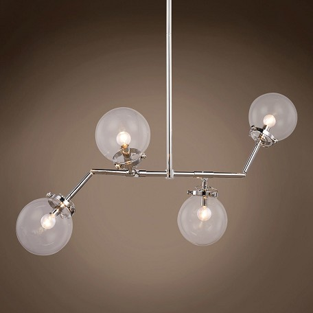 "Globe Clear Glass 4 Light 21"" Chandelier"