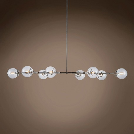 "Bistro Globe Clear Glass 8 Light 66"" Chandelier"
