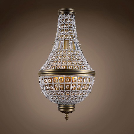"19Th C. French Empire Crystal 3 Light 14"" Wall Sconce"