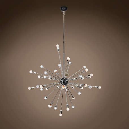 "Italian Starburst 24 Light 42"" Polished Nickel Chandelier"