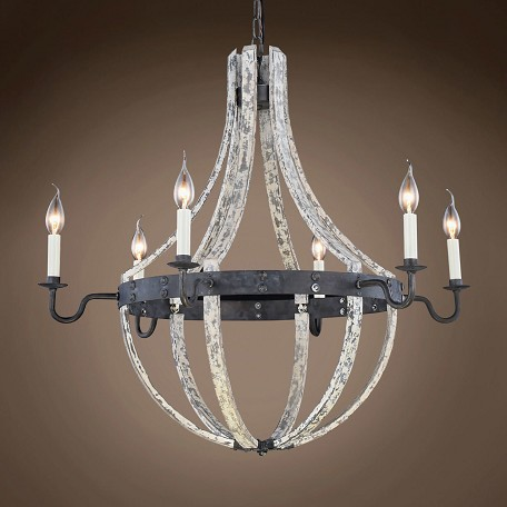 "Wine Barrel 6 Light 31"" Chandelier"