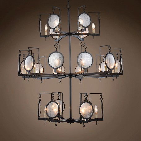 "Gaslight Lens 24 Light 42"" Bronze Chandelier"