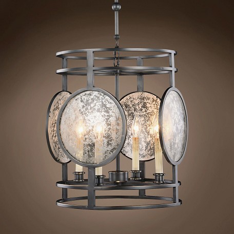 "Gaslight Lens 4 Light 15"" Bronze Chandelier"
