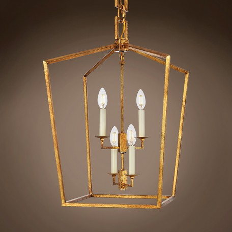 "19Th C. English Openwork Lantern 4 Light 17"" Pendant"