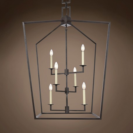 "19Th C. English Openwork Lantern 6 Light 29"" Pendant"