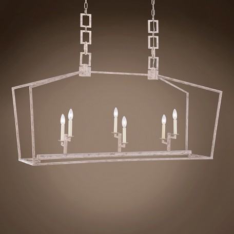 "19Th C. English Openwork Linear Lantern 6 Light 54"" Pendant"