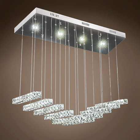 "Galaxy 29"" Led Chrome Rectangular Chandelier With Clear Crystals"