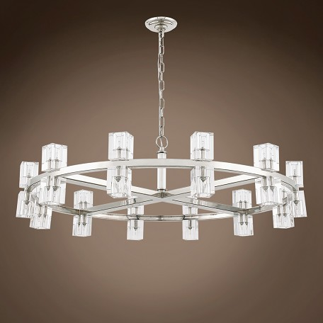 "Crystal Wagon Wheel 20 Light 42"" Round Chandelier"