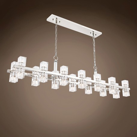 "Crystal Wagon Wheel 28 Light 60"" Linear Chandelier"
