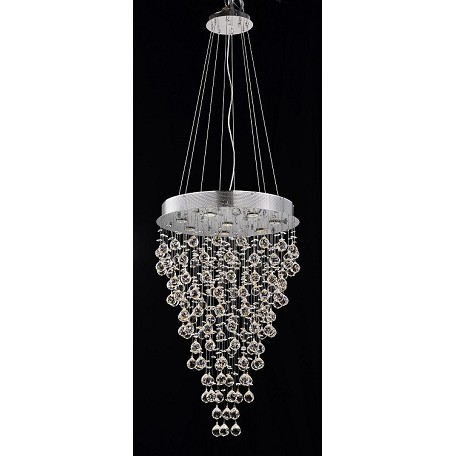 Drops of Rain Design 8-Light 36'' Round Pendant Chandelier with European or Swarovski Crystals SKU# 10247