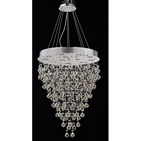 Drops of Rain Design 12-Light 36'' Round Pendant Chandelier Dressed with European or Swarovski Crystals SKU# 10248