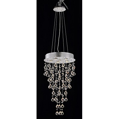 "Drops of Rain Design 6-Light 18"" Round Pendant Chandelier with European or Swarovski Crystals SKU# 11380"