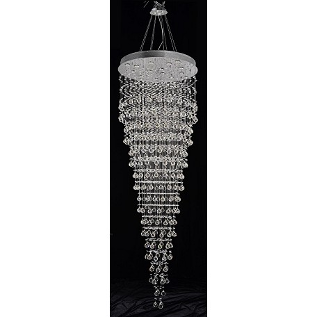 Drops of Rain Design 16-Light 96'' Round Pendant Chandelier Dressed with European or Swarovski Crystals SKU# 11381