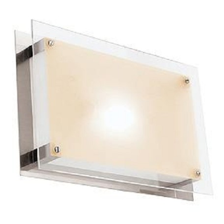 Access Brushed Steel / Frosted Vision 1 Light Led Flush Mount Ceiling Fixture