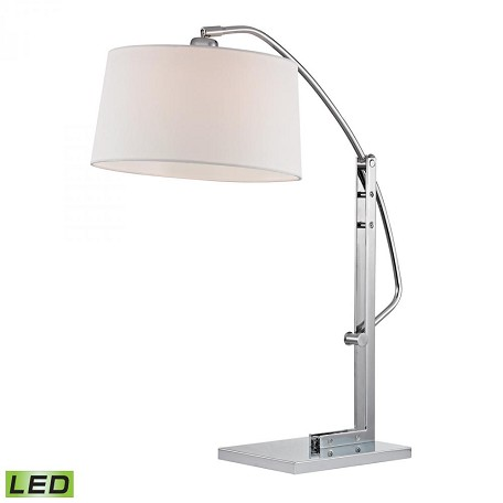 Dimond One Light Pure White Fabric Shade Polished Nickle Table Lamp