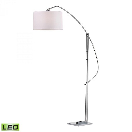 Dimond One Light Pure White Fabric Shade Polished Nickle Floor Lamp