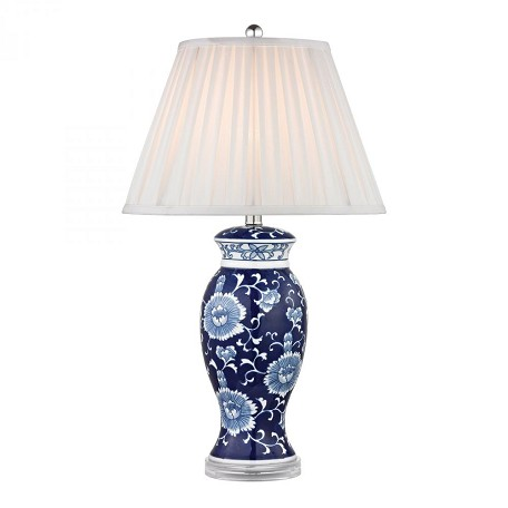 Dimond One Light White Faux Silk Shade Blue And White Hand Paint Table Lamp